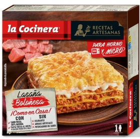 Lasaña Boloñesa para microondas La Cocinera 300 g.