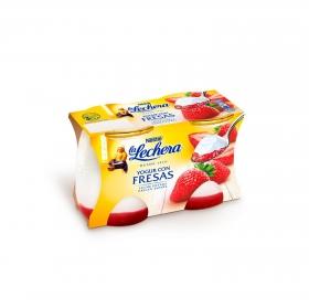 Yogur con fresa Nestlé La Lechera pack de 2 unidades de 125 g.