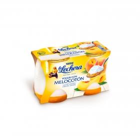 Yogur con melocotón Nestlé La Lechera pack de 2 unidades de 125 g.