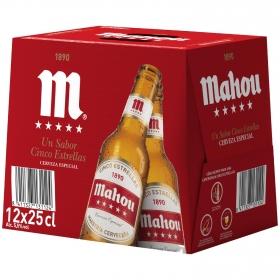 Cerveza Mahou 5 Estrellas especial pack de 12 botellas de 25 cl.