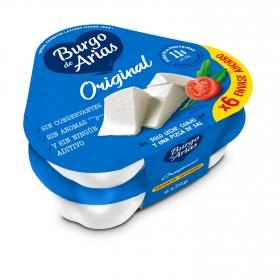 Queso blanco pasterizado Burgo de Arias pack de 6 unidades de 72 g.