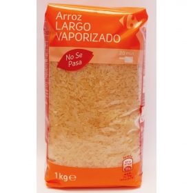 Arroz largo vaporizado Carrefour 1 kg.