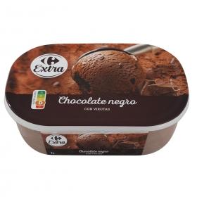 Helado de chocolate negro Carrefour 1000 ml.
