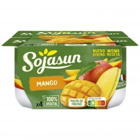 Preparado de soja con mango Sojasun sin lactosa pack de 4 unidades de 100 g.
