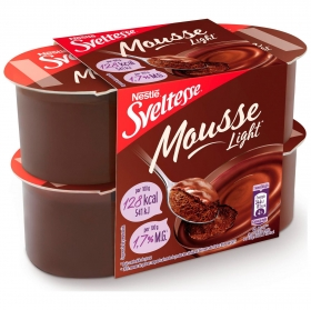 Mousse de chocolate Nestlé Sveltesse pack de 4 unidades de 64 ml.