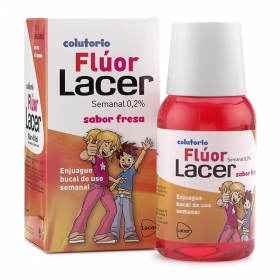 Colutorio flúor sabor fresa uso semanal Lacer 100 ml.