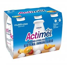 Yogur líquido L.Casei multifrutas Danone Actimel pack de 6 unidades de 100 g.