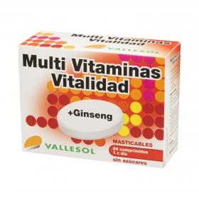 Multi Vitaminas + Ginseng Vallesol Vitalidad 24 comprimidos.
