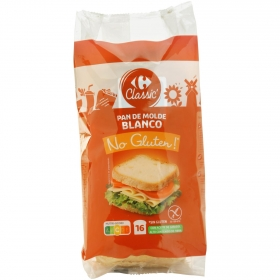 Pan de molde blanco Carrefour No Gluten sin gluten y sin lactosa 400 g.