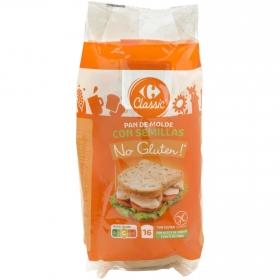 Pan de molde con semillas Carrefour No Gluten sin gluten y sin lactosa 400 g.