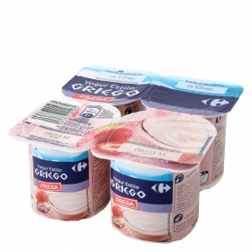 Yogur griego de fresa Carrefour pack de 4 unidades de 125 g.