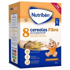 Papilla 8 Cereales con miel y fibra desde 6 meses Nutribén 600 gr