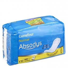 Compresas para pequeñas pérdidas de orina ' Absodys Control ' normal Carrefour 12 ud.