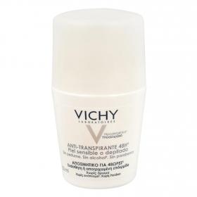 Desodorante roll-on anti-transpirante piel sensible o depilada 48h. Vichy 50 ml.