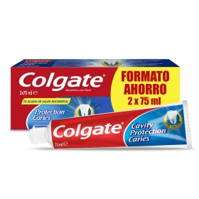 Dentífrico protection caries con calcio Colgate pack de 2 unidades 75 ml.