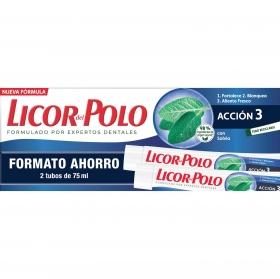 Dentífrico Protección Completa Licor del Polo pack de 2 unidades de 75 ml.