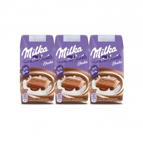 Batido de chocolate Milka sin gluten pack de 3 briks de 200 ml.