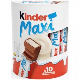 Barrita de chocolate con corazón de leche maxi Kinder sin gluten 10 ud.