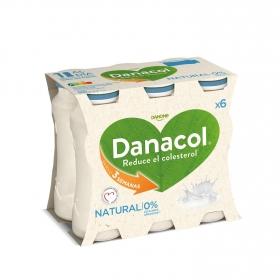 Yogur líquido natural Danone Danacol pack de 6 unidades de 100 g.
