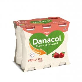 Yogur líquido de fresa Danone Danacol pack de 6 unidades de 100 g.