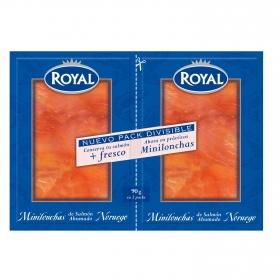Minilonchas de salmón ahumado Duo Royal pack de 2 unidades de 50 g.