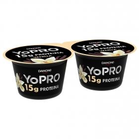Yogur de proteínas sabor vainilla Danone Yopro sin gluten pack de 2 unidades de 160 g.