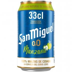 Cerveza San Miguel 0,0 sin alcohol con zumo de manzana lata 33 cl.
