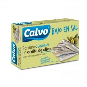 Sardinillas en aceite de oliva bajo en sal Calvo 60 g.
