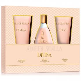 Estuche Aire de Sevilla Divina: Agua de colonia 150 ml., crema hidratante 150 ml y gel de ducha 150 ml.