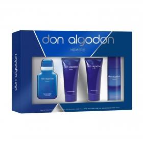 Estuche Don Algodón Hombre: Agua de colonia spray100 ml, gel de ducha y baño 100 ml, after shave 75 ml y desodorante en spray 150 ml.