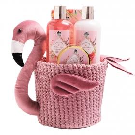 Cesta tela flamenco rosa y vainilla Becasan Nature: Gel 290 ml,  Locion 290 ml, Exfoliante 50 ml y sales 100 g