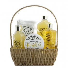 Cesta baño Argal Oil Gloss: Gel de ducha 250 ml, exfoliante 110 ml, espuma baño 350 ml, loción 100 ml y sales baño 200 g