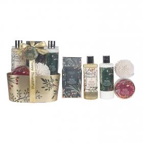 Cesta baño Berry Beautiful Gloss: Gel de ducha 270 ml, body loción 270 ml, crema corporal 60 ml, sales de baño 150 g y esponja