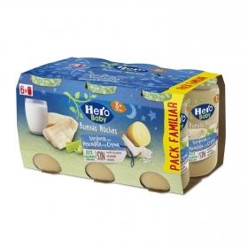 Tarrito de verduras con pescadilla a la crema desde 8 meses sin sal añadida Hero Baby Buenas noches sin aceite de palma pack de 6 unidades de 190 g.