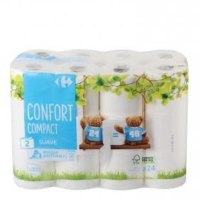 Papel higiénico compact doble rollo Carrefour 24 rollos.