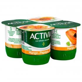 Yogur bífidus con mango, papaya y soja Danone Activia pack de 4 unidades de 125 g.