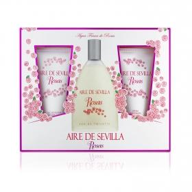 Estuche Aire de Sevilla Rosas: colonia 150 ml, crema corporal 150 ml y gel de ducha 150 ml.