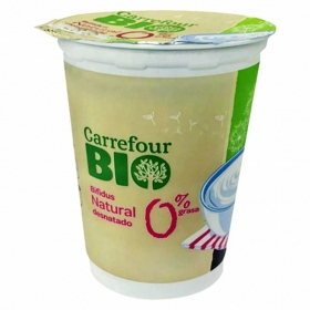 Yogur bífidus desnatado natural con leche pasteurizada ecológica Carrefour Bio 500 g.
