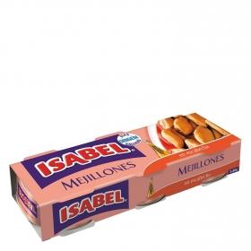 Mejillones de las rías gallegas en escabeche Isabel pack de 3 unidades de 120 g.