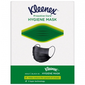 Mascarilla higiénica adulto negra Kleenex 5 ud.