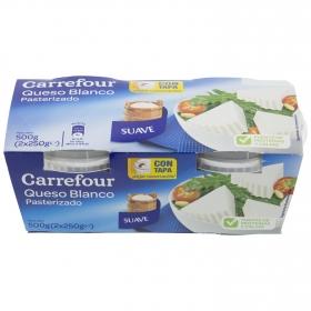 Queso blanco pasteurizado natural Carrefour pack de 2 unidades de 250 g.