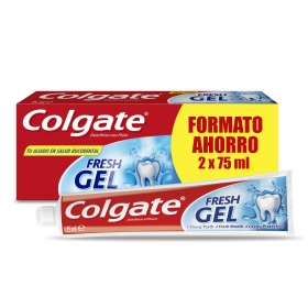 Dentifrico fres gel Colgate pack de 2 unidades de 75 ml.