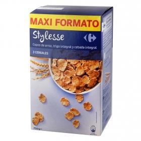 Copos de arroz, trigo integral y cebada integral Stylesse Carrefour 750 g.