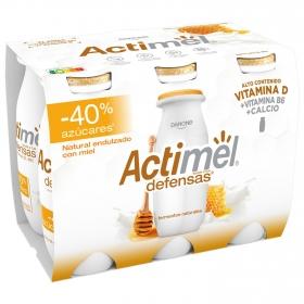 Yogur L.Casei líquido natural endulzado con miel - 40% azúcares Danone - Actimel sin gluten pack de 6 unidades de 100 g.