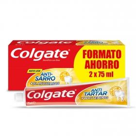 Dentífrico Anti-Sarro + Blanqueador Tubo Duplo Colgate pack de 2 unidades de 75 ml.