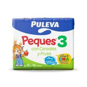 Leche infantil de crecimiento desde 12 meses con cereales y fruta Puleva Peques 3 pack de 3 briks de 200 ml.