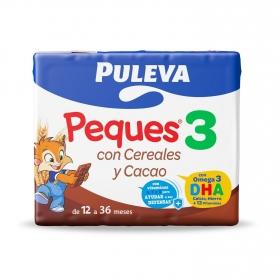 Leche infantil de crecimiento desde 12 meses con cereales al cacao Puleva Peques 3 pack de 3 briks de 200 ml.
