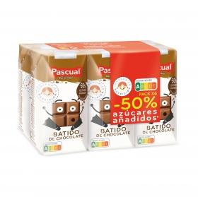 Batido de chocolate Pascual sin gluten pack de 6 briks de 200 ml.