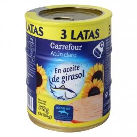 Atún claro en aceite de girasol Carrefour pack de 3 unidades de 104 g.