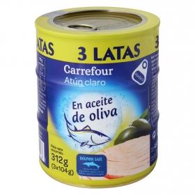Atún claro en aceite de oliva Carrefour pack de 3 latas de 104 g.